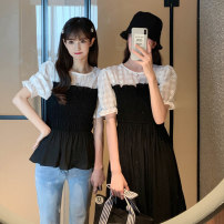 Fashion suit Summer 2021 Average size Black shirt, black skirt 18-25 years old Other / other 55074M 51% (inclusive) - 70% (inclusive) polyester fiber