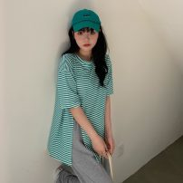T-shirt Blue stripe, black stripe, green stripe, gray stripe Average size Summer 2021 elbow sleeve Crew neck easy Regular routine commute cotton 51% (inclusive) - 70% (inclusive) 18-24 years old Korean version 6075X