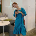 Dress Spring 2021 The lake is blue and white Average size Mid length dress singleton  Short sleeve commute square neck High waist Solid color Socket 18-24 years old Korean version 80263AF 91% (inclusive) - 95% (inclusive) cotton