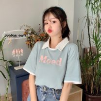 T-shirt Light blue, pink M,L,XL Summer 2021 Short sleeve Polo collar easy Regular routine commute cotton 51% (inclusive) - 70% (inclusive) 18-24 years old Korean version K3155X