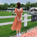 Dress Summer 2021 Orange, blue, black Average size Middle-skirt singleton  Short sleeve commute square neck Socket routine 18-24 years old Type A Korean version 51% (inclusive) - 70% (inclusive) polyester fiber
