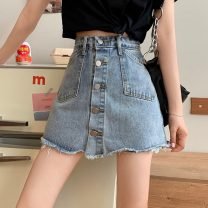 skirt Summer 2021 S,M,L,XL blue Short skirt commute High waist A-line skirt Solid color Type A 18-24 years old 6059H 71% (inclusive) - 80% (inclusive) cotton pocket Korean version