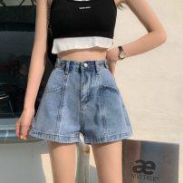 Jeans Summer 2021 wathet S,M,L,XL shorts High waist Straight pants routine 18-24 years old Cotton denim 6160X 51% (inclusive) - 70% (inclusive)