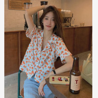 shirt white Average size Summer 2021 polyester fiber 51% (inclusive) - 70% (inclusive) Short sleeve commute Regular tailored collar Single row multi button routine 18-24 years old Straight cylinder Korean version 8140M
