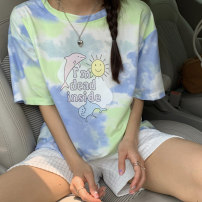 T-shirt Green, pink Average size Summer 2021 Short sleeve Crew neck easy Regular routine commute polyester fiber 51% (inclusive) - 70% (inclusive) 18-24 years old Korean version 8302M tie-dyed