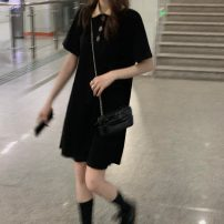Dress Summer 2021 Black, pink Average size Middle-skirt singleton  Short sleeve commute Polo collar Loose waist Socket routine 18-24 years old Type A Korean version 51% (inclusive) - 70% (inclusive) cotton