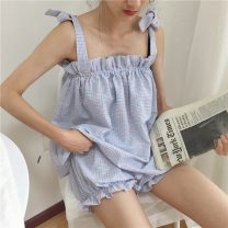 Pajamas / housewear set female Other / other Average size Green, blue Polyester (polyester) camisole Simplicity pajamas summer Thin money lattice shorts youth 2 pieces rubber string 41% (inclusive) - 60% (inclusive) 8619F