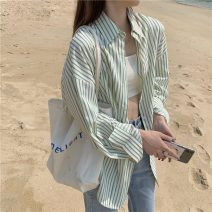 shirt Green stripe Average size Spring 2021 polyester fiber 71% (inclusive) - 80% (inclusive) Long sleeves commute Regular square neck Single row multi button routine lattice 18-24 years old Straight cylinder Korean version 61203H Button
