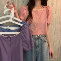 shirt Sapphire blue, white, pink, violet Average size Summer 2021 polyester fiber 31% (inclusive) - 50% (inclusive) Short sleeve commute Short style (40cm < length ≤ 50cm) square neck Single row multi button puff sleeve Solid color 18-24 years old Korean version 263M