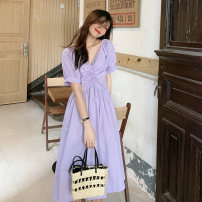 Dress Summer 2021 Purple top, white top, pink top, purple dress, white dress, pink dress Average size longuette singleton  Short sleeve commute V-neck High waist Solid color Socket puff sleeve 18-24 years old Korean version 9279M 51% (inclusive) - 70% (inclusive) polyester fiber