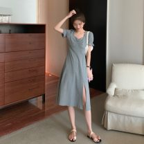 Dress Summer 2021 Gray, black Average size Middle-skirt singleton  Short sleeve commute square neck Solid color Socket Irregular skirt puff sleeve 18-24 years old Type A Korean version 51% (inclusive) - 70% (inclusive) cotton