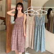 Dress Summer 2021 Average size Mid length dress singleton  Sleeveless commute V-neck Elastic waist Broken flowers A-line skirt camisole 18-24 years old Type A Korean version 51% (inclusive) - 70% (inclusive) polyester fiber