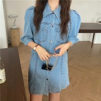 Dress Summer 2021 Picture color M, L Short skirt singleton  Short sleeve commute Polo collar High waist A-line skirt puff sleeve Others 18-24 years old Korean version 8966F 51% (inclusive) - 70% (inclusive) polyester fiber