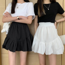 skirt Summer 2021 Average size White, black Short skirt commute High waist A-line skirt Solid color Type A 18-24 years old 9161M 51% (inclusive) - 70% (inclusive) polyester fiber Korean version