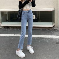Jeans Summer 2021 blue S,M,L Ninth pants High waist Straight pants routine 18-24 years old Cotton denim 8061H 71% (inclusive) - 80% (inclusive)