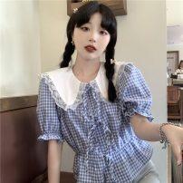 shirt Blue, black Average size Summer 2021 polyester fiber 51% (inclusive) - 70% (inclusive) Short sleeve commute Regular Doll Collar 18-24 years old Self cultivation Korean version 6588F