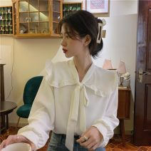 shirt Apricot, white, red Average size Spring 2021 polyester fiber 71% (inclusive) - 80% (inclusive) Long sleeves commute Regular Doll Collar Socket routine Solid color 18-24 years old Korean version bow