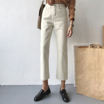 Jeans Summer 2020 Off white S,M,L Ninth pants High waist Straight pants routine 18-24 years old Cotton denim 9949H 91% (inclusive) - 95% (inclusive)