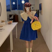 Dress Summer 2021 Violet, blue, black Average size Middle-skirt singleton  Short sleeve commute Doll Collar Socket puff sleeve 18-24 years old Type A Korean version 5615X 51% (inclusive) - 70% (inclusive) polyester fiber