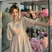 Dress Summer 2021 Orange, blue Average size Mid length dress singleton  Short sleeve commute square neck Elastic waist Broken flowers Socket A-line skirt Others 18-24 years old Korean version 30% and below polyester fiber