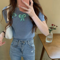 Wool knitwear Summer 2021 Average size Picture color Short sleeve singleton  Socket Viscose 51% (inclusive) - 70% (inclusive) have cash less than that is registered in the accounts routine commute easy routine Socket Korean version 18-24 years old bow