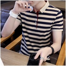 Polo shirt Other / other Youth fashion routine Red, green, blue M,L,XL,2XL,3XL,4XL Self cultivation go to work summer Short sleeve Basic public routine youth 2020 stripe cotton No iron treatment Button decoration More than 95%