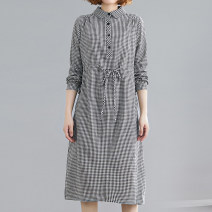 Dress Autumn 2020 Black and white plaid skirt M,L,XL,2XL Mid length dress singleton  Long sleeves commute Doll Collar Elastic waist lattice Socket A-line skirt shirt sleeve Type A Other / other literature Pocket, lace up, button 71% (inclusive) - 80% (inclusive) cotton