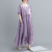 Dress Summer 2020 Violet, Navy L,XL longuette singleton  Short sleeve commute Crew neck Loose waist Solid color Socket A-line skirt routine Type A Other / other literature Pocket, lace up, stitching 31% (inclusive) - 50% (inclusive) cotton