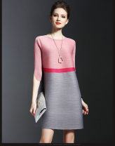 Dress Spring of 2019 Pink, red Average size Middle-skirt Short sleeve commute Crew neck Loose waist stripe Socket A-line skirt routine Others 30-34 years old Type A Other / other 31% (inclusive) - 50% (inclusive) Crepe de Chine Cellulose acetate