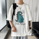 T-shirt Youth fashion White, gray, black routine M,L,XL,2XL,3XL,4XL,5XL Others Short sleeve Crew neck easy Other leisure summer Cotton 100% Large size routine tide 2021 Cartoon animation printing cotton Creative interest No iron treatment More than 95%
