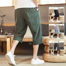 Casual pants Others Youth fashion Dark grey, black, army green, light blue M,L,XL,2XL,3XL,4XL,5XL routine Cropped Trousers Other leisure easy Micro bomb summer Large size tide 2021 Medium low back Straight cylinder Cotton 87.4% viscose 12.6% Sports pants Embroidered logo No iron treatment Solid color
