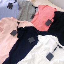 T-shirt Dark pink short sleeve T-shirt, light gray short sleeve T-shirt, light blue short sleeve T-shirt, white short sleeve T-shirt, black short sleeve T-shirt, light pink short sleeve T-shirt, Navy short sleeve T-shirt XL,S,L,M other 96% and above