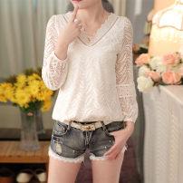 Lace / Chiffon Spring 2017 white M,L,XL,2XL Long sleeves commute Socket singleton  Regular V-neck routine Korean version
