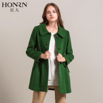 woolen coat Winter of 2018 S,M,L,XL,XXL,XXXL Picture color, picture color 1 wool 95% and above Medium length Long sleeves commute Single breasted routine other Solid color Straight cylinder lady HA55OD188 Honrn / red man Solid color polyester fiber