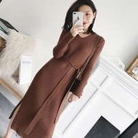 sweater Autumn 2021 S,M,L,XL,XXL Black, apricot, brown Long sleeves Socket singleton  Medium length other 71% (inclusive) - 80% (inclusive) V-neck Regular commute routine Solid color Self cultivation Fine wool Keep warm and warm Button cotton Frenulum