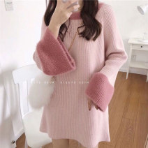 Women's large Autumn 2020 Crystal powder, milk tea apricot, haze blue Large L, large XL, s, M Dress singleton  commute easy thick Socket Long sleeves Solid color Korean version Crew neck Medium length other printing and dyeing routine 18-24 years old Middle-skirt Ruffle Skirt