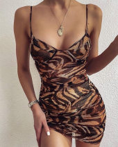 Dress Summer 2020 Dark brown S,M,L,XL Short skirt singleton  Sleeveless street square neck middle-waisted Leopard Print Pencil skirt routine camisole 25-29 years old Type H Other / other 31% (inclusive) - 50% (inclusive) polyester fiber Europe and America
