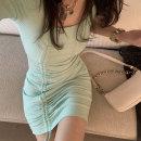 Dress Summer 2021 Gray, light green, black S,M,L Short skirt singleton  Short sleeve commute square neck High waist Solid color Socket routine Type H Korean version L2103109 other