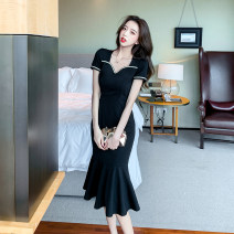 Dress Summer 2021 black S,M,L Mid length dress singleton  Short sleeve commute square neck middle-waisted Solid color zipper One pace skirt routine 18-24 years old Type H Korean version Ruffles, zippers 31% (inclusive) - 50% (inclusive) cotton