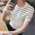 T-shirt Youth fashion routine M,L,XL,2XL,3XL Others Short sleeve Crew neck easy daily summer 2021 stripe Polyester 100% teenagers routine Youthful vigor Woven cloth 2021 stripe printing polyester fiber Sea soul No iron treatment Non brand More than 95%