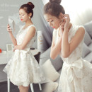 Dress Summer 2017 White [high quality mall fabric] S,M,L,XL,XXL singleton  Short sleeve commute Crew neck middle-waisted Broken flowers Socket Princess Dress routine Other / other Retro bow More than 95% organza  cotton