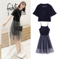 Dress Spring of 2019 Light blue, black S,M,L,XL,2XL Mid length dress Two piece set Short sleeve Sweet Crew neck High waist Solid color Socket Pleated skirt pagoda sleeve camisole Type A Gauze college