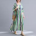 Dress Summer 2021 Yellow and blue, green and blue Average size [100-170 kg] longuette singleton  Short sleeve commute Crew neck Loose waist stripe Socket Bat sleeve Others Type A literature 51% (inclusive) - 70% (inclusive) cotton