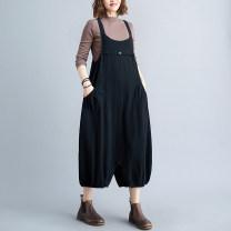 Casual pants black M [90-120 Jin], l [120-140 Jin], XL [140-160 Jin] Summer 2021 Ninth pants Haren pants commute routine 31% (inclusive) - 50% (inclusive) hemp literature pocket cotton