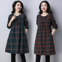 Dress Autumn of 2019 Red on green, pink on green, black on green M,L,XL,2XL Mid length dress singleton  Long sleeves commute Crew neck Loose waist lattice Socket A-line skirt routine Others Type H Other / other ethnic style pocket 51% (inclusive) - 70% (inclusive) cotton