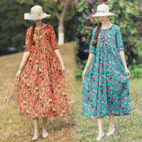 Dress Summer of 2019 Green, orange M,L,XL,2XL longuette singleton  elbow sleeve commute Crew neck Loose waist Decor Socket A-line skirt routine Others Type H Other / other ethnic style Pocket, print 31% (inclusive) - 50% (inclusive) hemp
