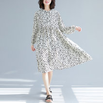 Dress Spring 2021 Off white, pink, green, black Average size [100-140 kg] Mid length dress singleton  Long sleeves commute Doll Collar Loose waist Decor Socket shirt sleeve Others Type A literature Pleating 81% (inclusive) - 90% (inclusive) Chiffon