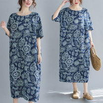 Dress Summer 2021 Blue flower Average size [100-130 kg] Mid length dress singleton  Short sleeve commute Crew neck Loose waist Decor Socket A-line skirt shirt sleeve Others 30-34 years old Type A printing 31% (inclusive) - 50% (inclusive) Silk and satin