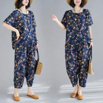 Fashion suit Summer 2021 M [100-115 Jin], l [115-130 Jin], XL [130-145 Jin], 2XL [145-160 Jin] Navy Blue Over 35 years old 51% (inclusive) - 70% (inclusive) cotton