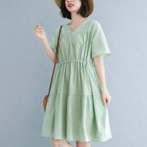 Dress Summer 2021 Light green, light blue, yellow, black Average size [100-170 kg] Mid length dress singleton  Short sleeve commute V-neck Solid color routine literature 91% (inclusive) - 95% (inclusive)